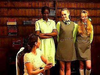 Schoolgirls Arrive For An Ass Spanking