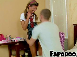 Shy Skinny Schoolgirl Gets Distracted